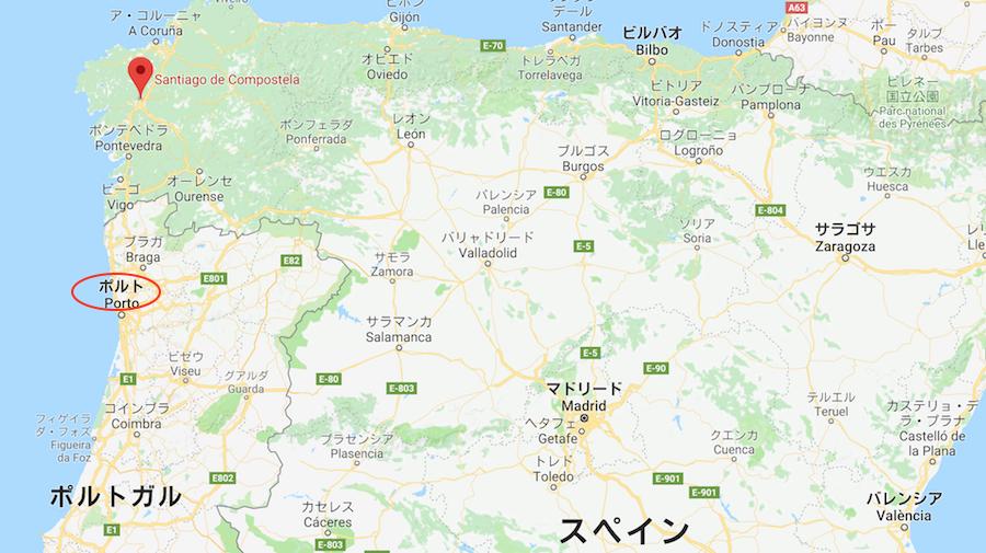 サンチアゴデコンポステーラからポルト地図