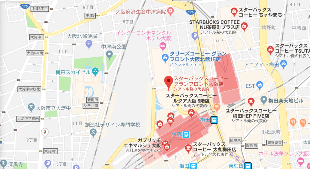 スターバックスグランフロント店地図